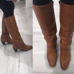 Italian leather brown riding boots